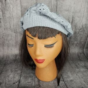 Gray knitted beret